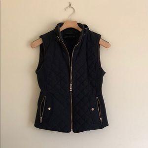 Zara Navy Vest with Contrast Stitching